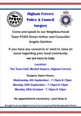 Police and Council Surgery - New Schedule