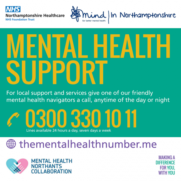 Picture displaying contact info for Mental Health Support integrated unit in Northants, call them on 0300 330 1011